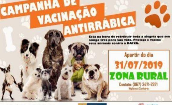 Campanha de Vacinação Antirrábica acontece na área rural