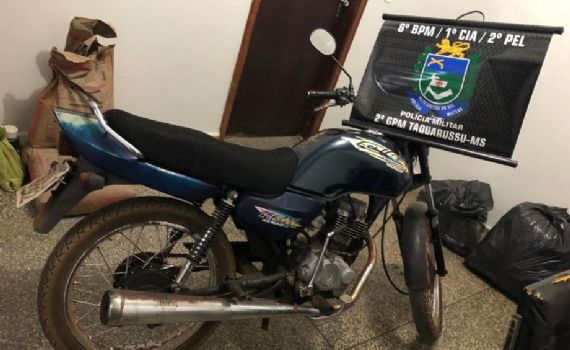 Polícia Militar recupera moto furtada em Taquarussu